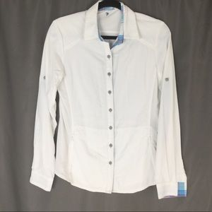 Kuhl White Blue Button Up Long Sleeve Shirt Small